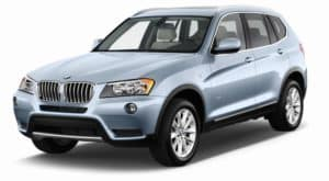 A light blue 2011 used BMW X3 on white facing left