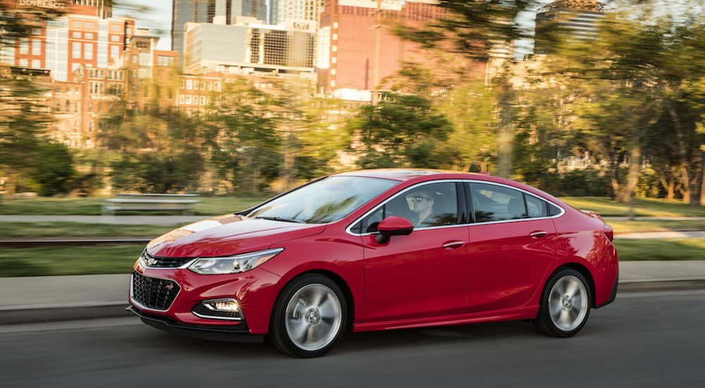 A red 2016 Chevy Cruze from a Cincinnati area used car dealer