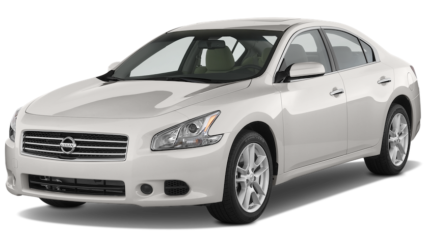 A white used Nissan Maxima from McCluskey auto facing left