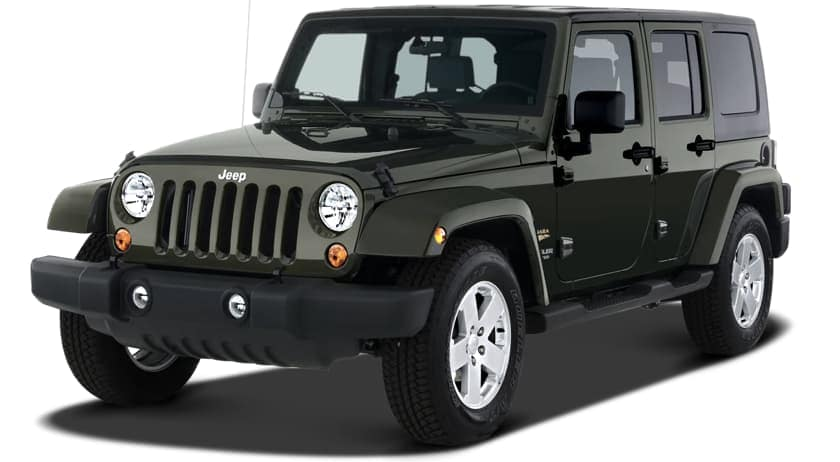 A black 2007 Jeep Wrangler on white