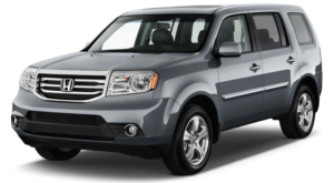 A grey 2013 used Honda Pilot is shown left facing on a white background.