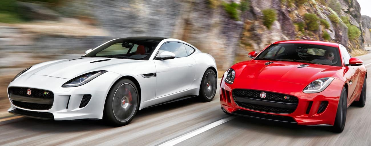 A red and a white 2015 Jaguar F-Type are racing on a rocky line road. Check one out a Cincinnati, OH dealership.