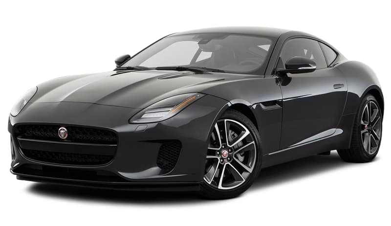 A dark grey 2018 Jaguar F-Type is facing left.