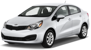 A silver 2015 Kia Rio is shown on a white background facing left.