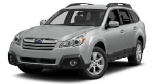 A grey 2014 used Subaru Outback is shown facing left with a white background.