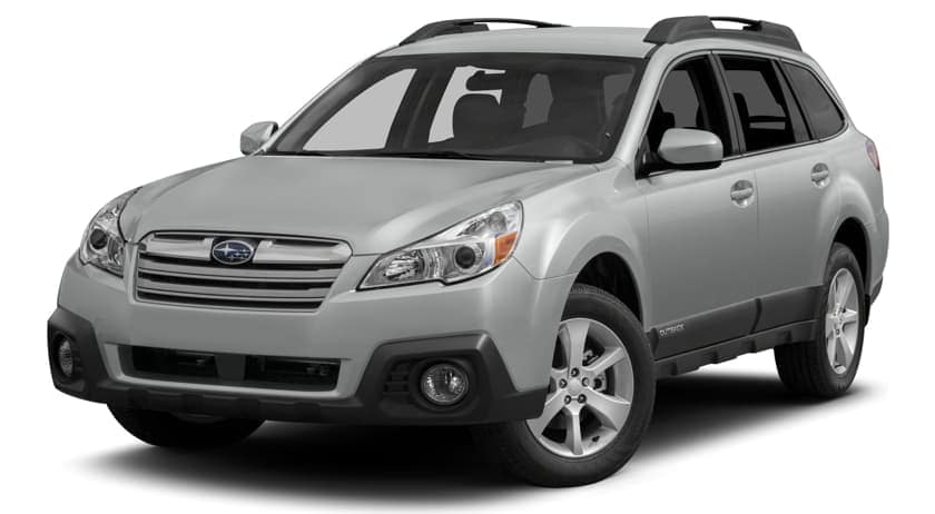 A grey 2014 Subaru Outback is shown facing left with a white background.