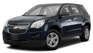A dark blue 2015 Chevy Equinox is facing left.