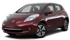 A burgundy 2017 Nissan Leaf is facing left.