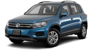A blue 2017 used Volkswagen Tiguan is facing left.