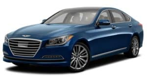 A blue 2016 Hyundai Genesis is facing left.