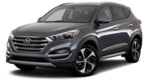 A grey 2017 used Hyundai Tucson is facing left.