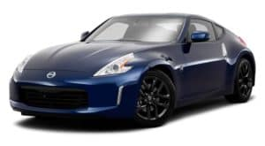 A blue 2017 Nissan 370Z is facing left.