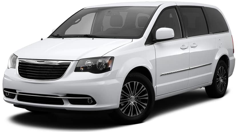 A white 2014 used Chrysler Town and Country is facing left.