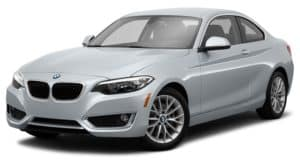 A silver 2014 BMW 2 Series is facing left.