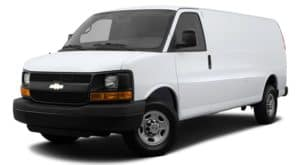 A white 2014 used Chevy Express 2500 is facing left.