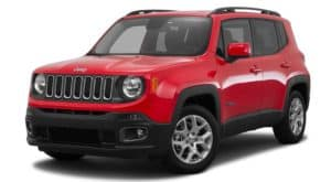 A red 2015 used Jeep Renegade is facing left.