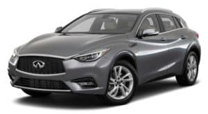 A grey 2018 INFINITI QX30 is facing left.