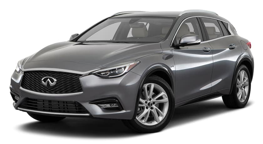 A grey 2018 INFINITI QX30 is facing left.