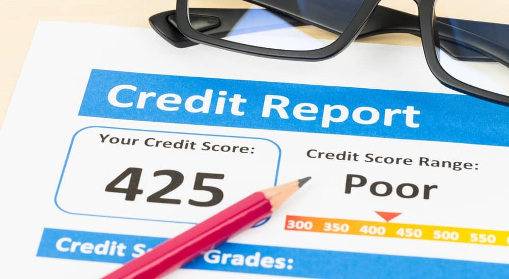 A poor credit score report is shown.