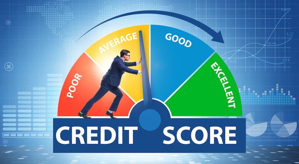 A man is pushing a dial on a circular credit score diagram from Average to Good credit.