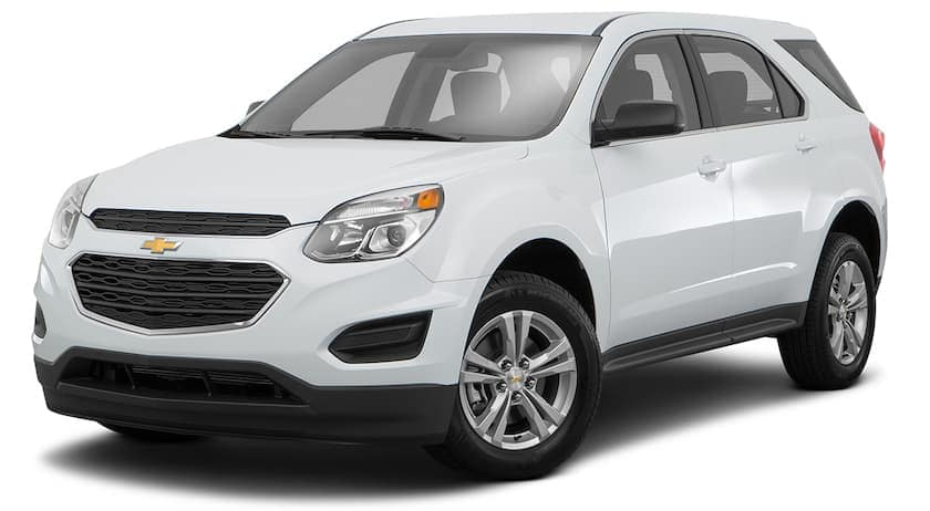 A white 2016 used Chevy Equinox is angled left on a white background.