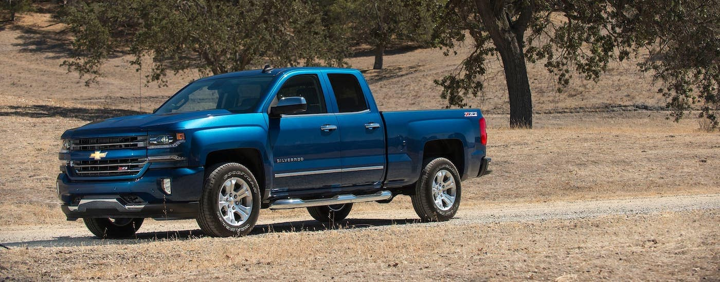 A popular used truck, a blue 2017 Chevy Silverado is parked in a field.