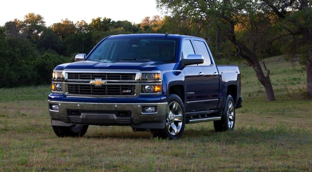 A blue 2014 used Chevy Silverado is parked on grass in front of trees near Cincinnati, OH.