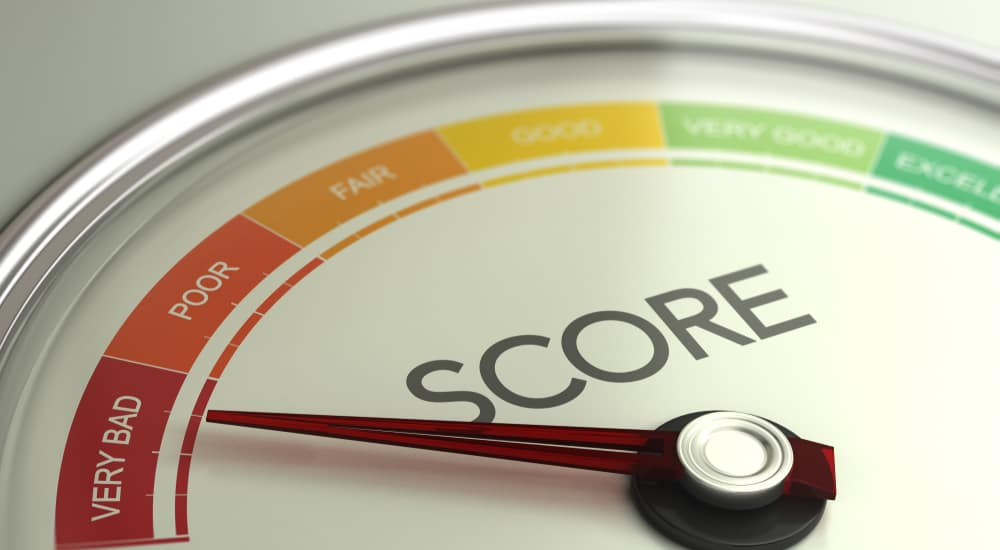 """Credit score scale with the hand toward """"VERY BAD"""""""