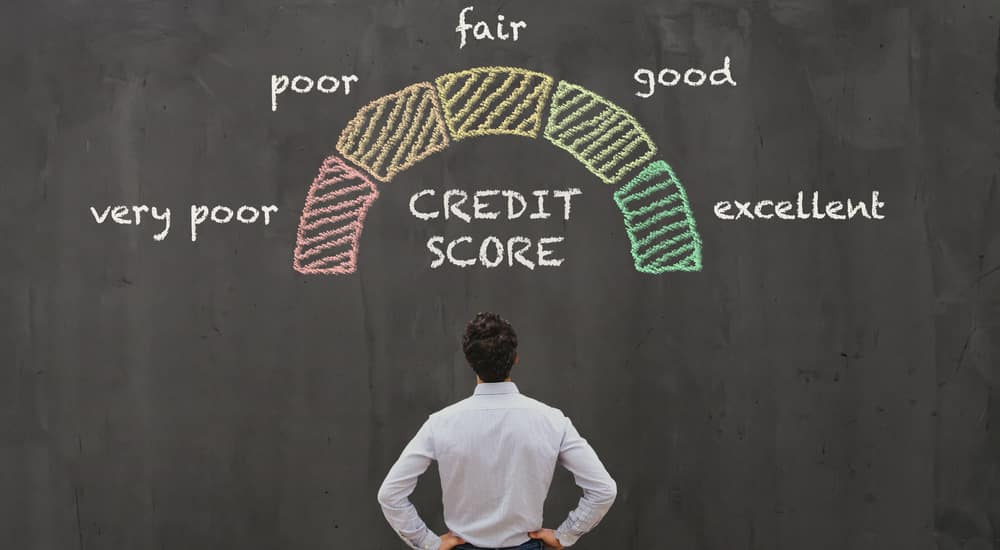 Man in a white shirt standing with hands on hips in front of a giant black chalkboard with a credit score scale drawn on it