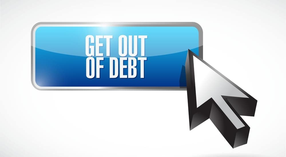 """Computer cursor hovering over a blue button that says """"GET OUT OF DEBT"""" on it in white letters"""