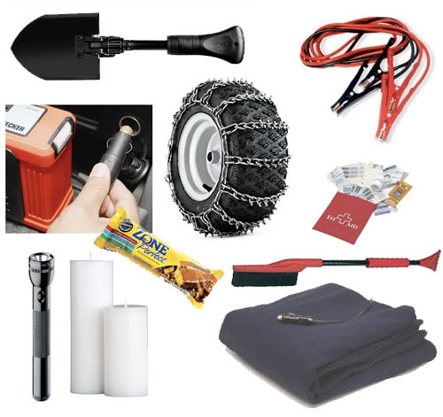 A selection of tools and items in the McCluskey Winter Emergency kit