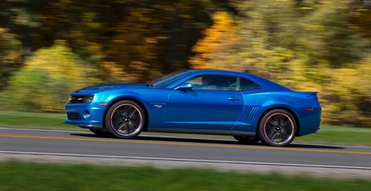 A blue Chevy Camaro driving on a wooded road