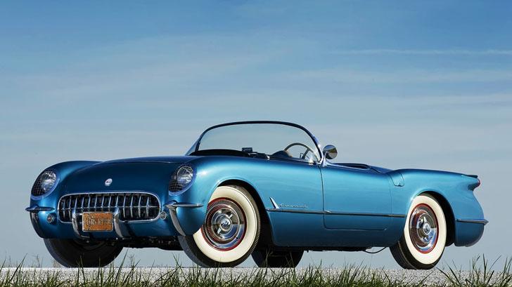 A blue 1953 Chevrolet Corvette from a used car dealer in Cincinnati