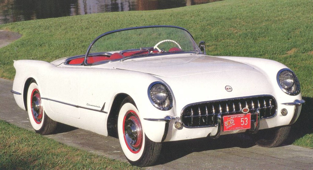 A White 1953 Chevy Corvette