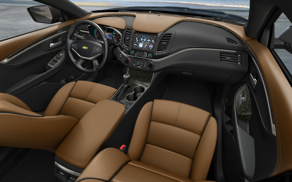 Brown leather interior of a 2014 Impala Interior Auto Repair Cincinnati OH