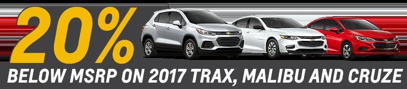 20% Off 2017 Trax Malibu and Cruze.