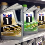 Gallons of Mobil 1 Oil on a shelf