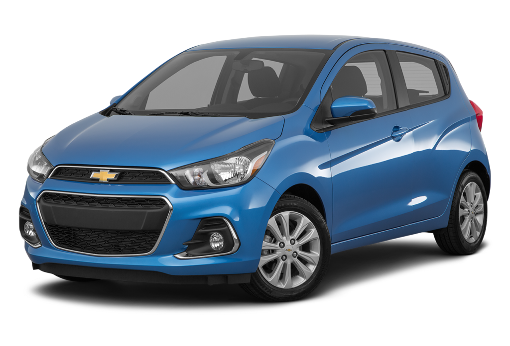 A blue 2016 Chevrolet Spark is angled left on a white background.