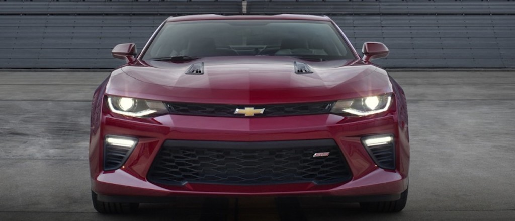 A red 2016 Chevrolet Camaro SS from the front