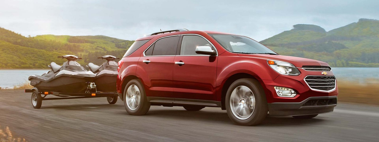 Red 2016 Chevy Equinox Towing cargo