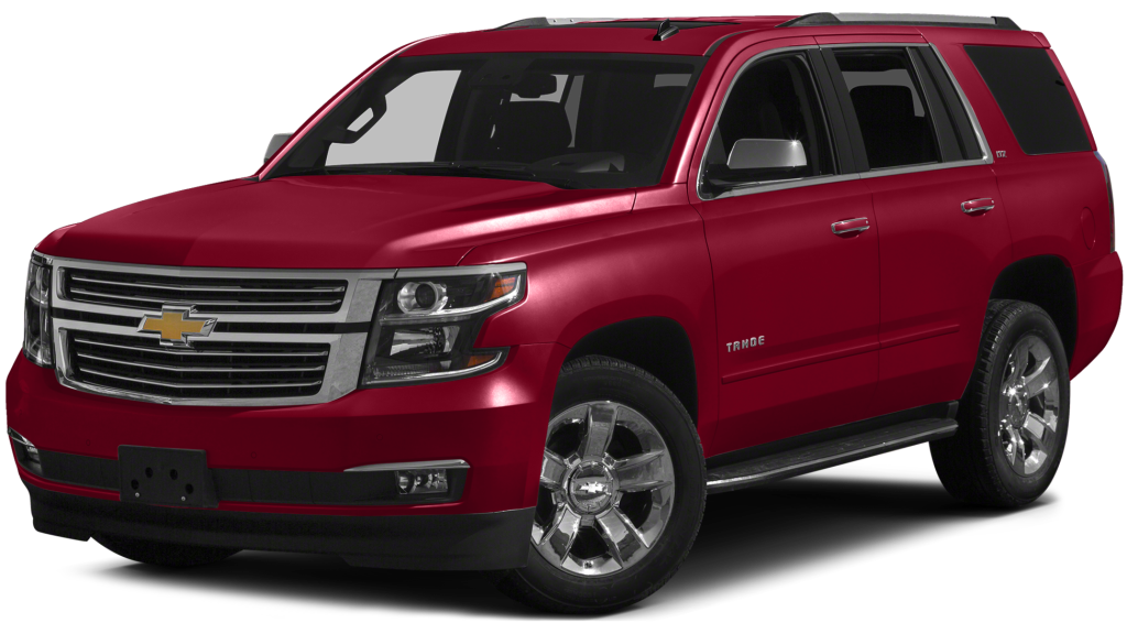 Red 2016 Chevrolet Tahoe model at an angle