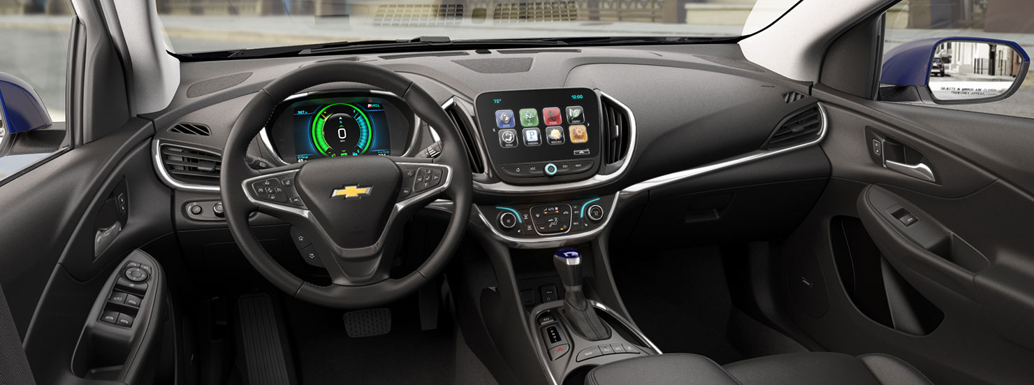 An interior look at the 2017 Chevy Volt Interior with black leather, a touchscreen, and other high tech additions.