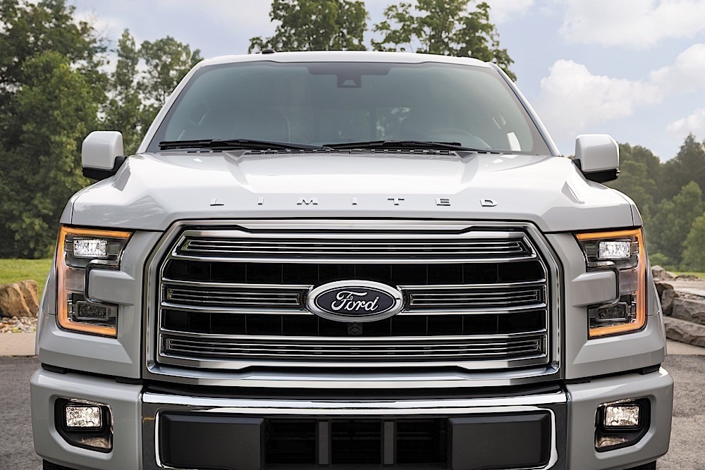 A silver 2016 Ford F-150 Limited is shown from the front.
