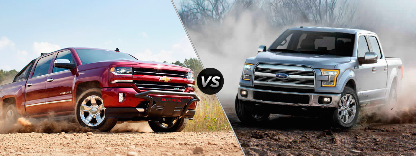 A red 2016 Chevy Silverado 1500 VS a white 2016 Ford F-150, both driving on dirt trails in Cincinnati, are shown.