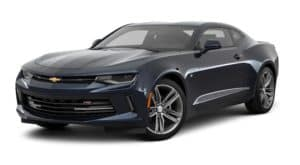 A dark blue 2016 Chevy Camaro is parked and facing left.
