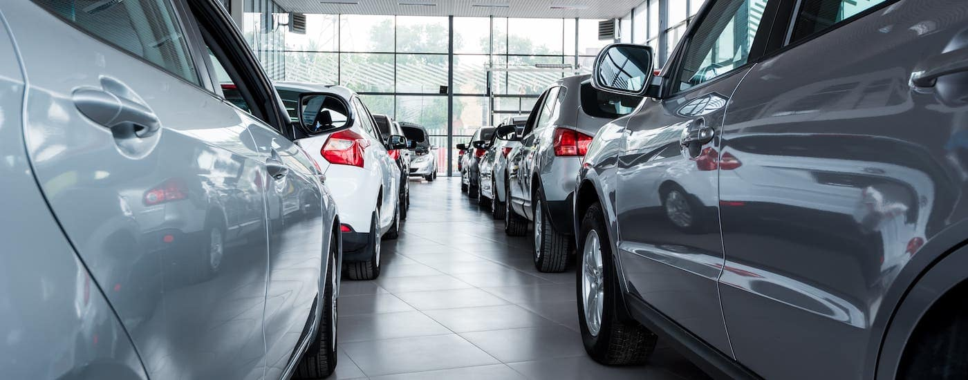 Two rows of cars are shown in a Chevy dealer near Columbus.