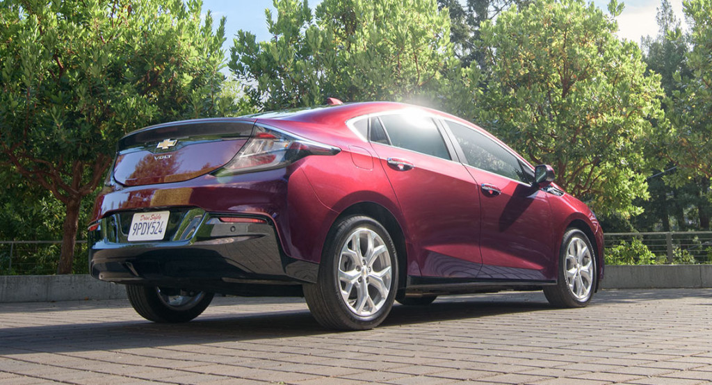 A red 2017 Chevy Volt in a park