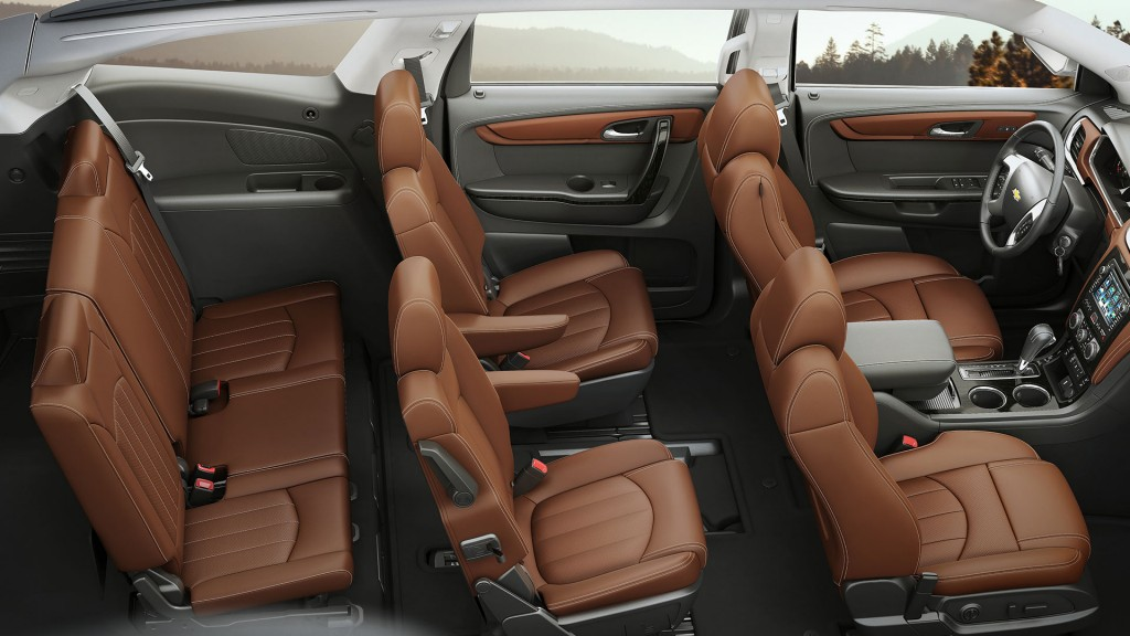 A birds eye view of the brown leather interior of the 2017 Chevy Traverse top trim level.
