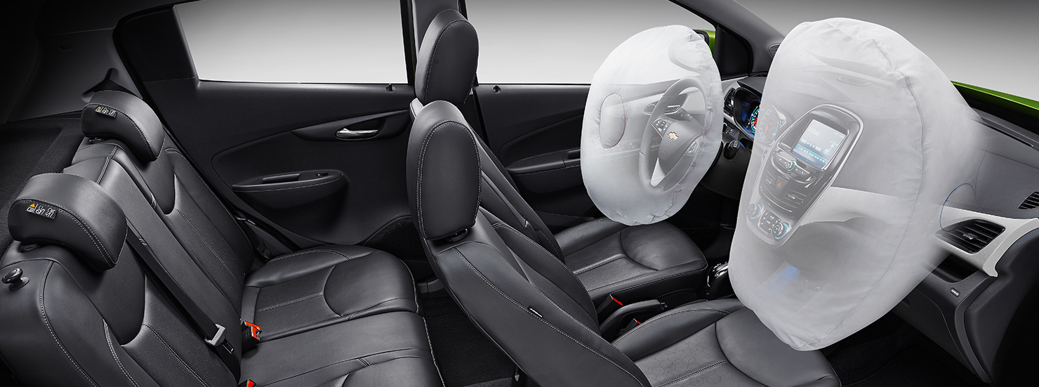 A birds-eye-view of the interior safety features, 2017 Chevy Spark, with the front airbags activated.