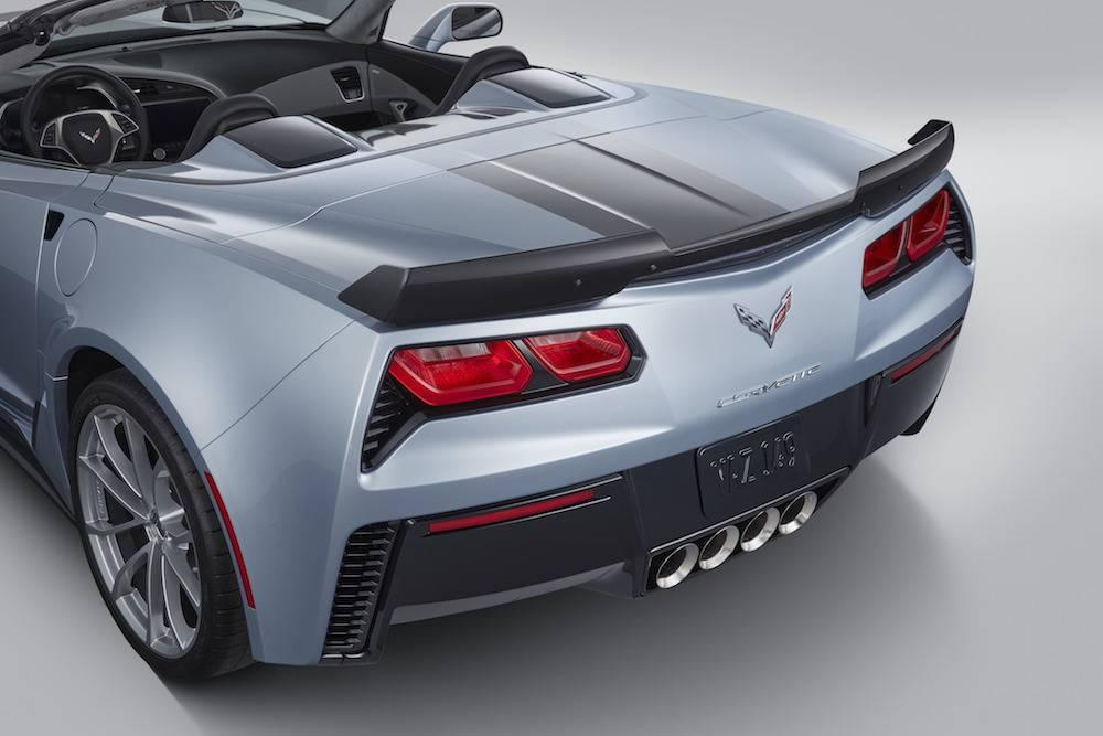 The rear is shown of a silver 2017 Chevy Corvette.